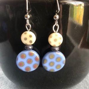 🎈Polka dot Czech glass earrings